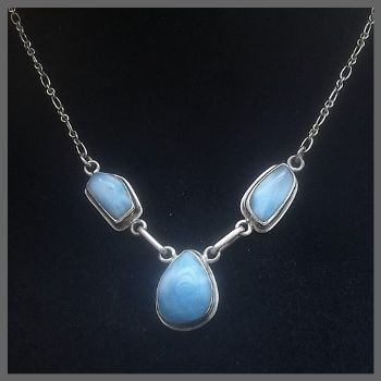 3 Stone Larimar Necklace with Bevel Edge